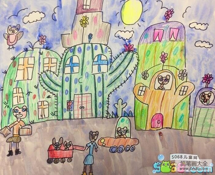 仙人掌城堡小学生创意画作品欣赏