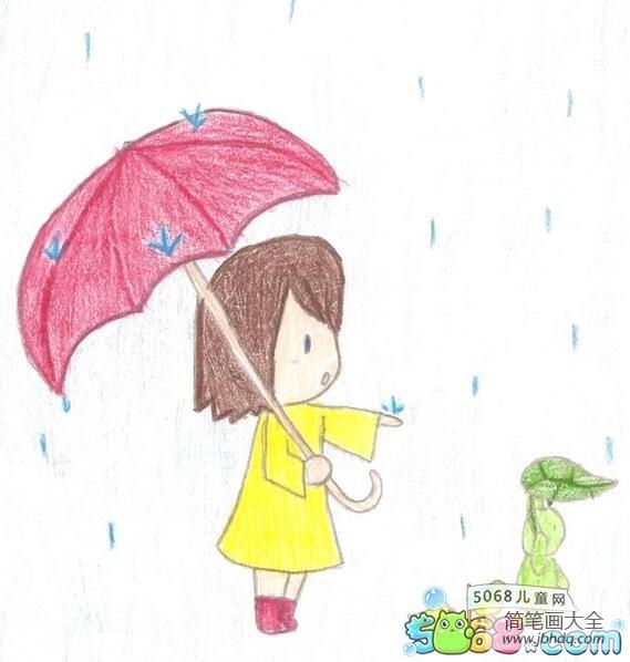 夏天下雨了外国小朋友画夏天的画分享