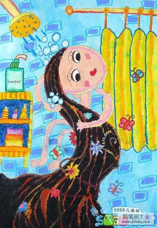 运动后多久可以洗澡_洗澡的长发姑娘创意人物画图片欣赏