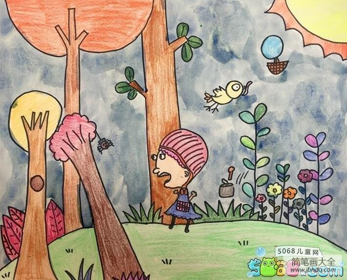【秋天的小树林图片】秋天的小树林美丽的秋天儿童画