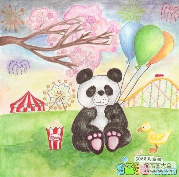 游乐场里有什么|游乐场里的大熊猫国外水彩画作品欣赏