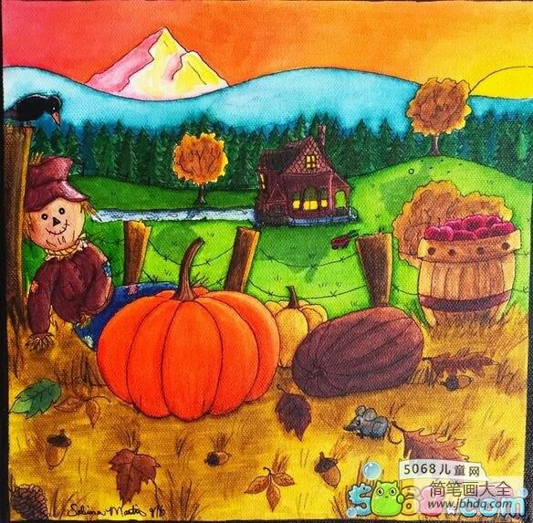 【秋天大丰收简笔画】大丰收国外秋天乡村油画作品欣赏