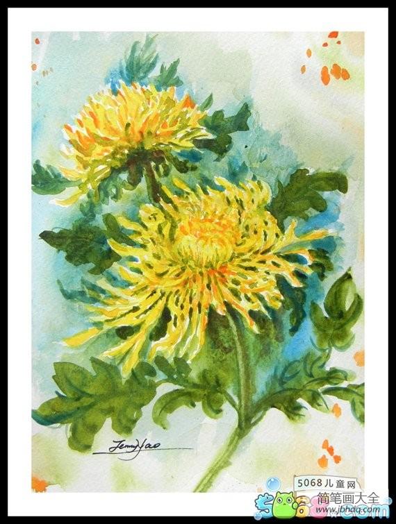 多彩的秋天作文|多彩的秋天儿童画之盛开的菊花