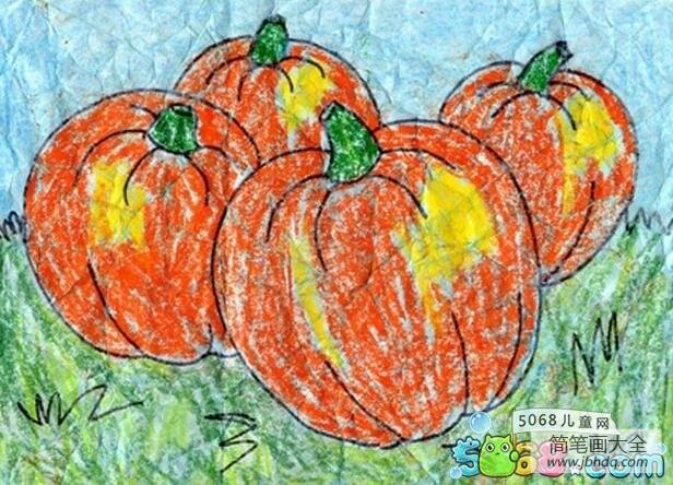 南瓜成熟了秋天蔬菜绘画图片大全_南瓜成熟了秋天蔬菜绘画图片欣赏