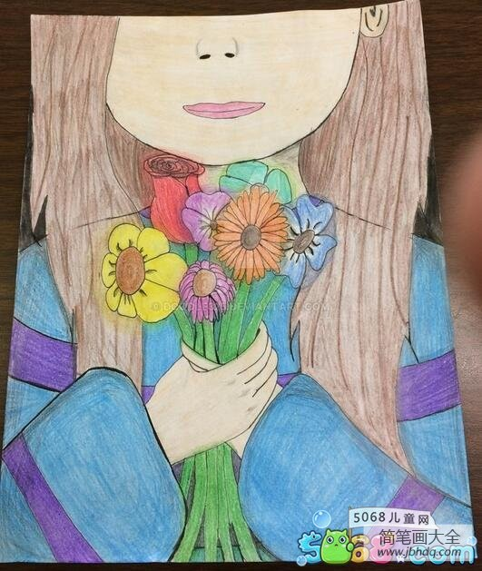 手捧着鲜花|手捧鲜花的小女孩少儿彩铅画作品