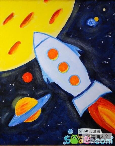 [飞向太空的航程 教案]飞向太空的宇宙飞船科幻画作品欣赏