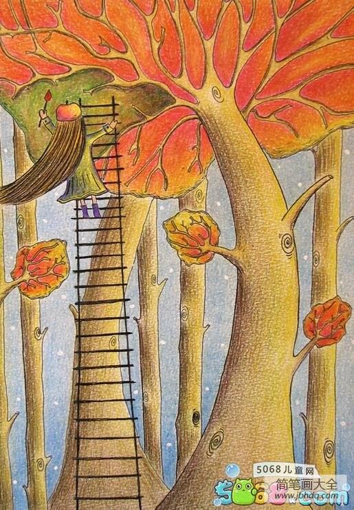 [秋天画画图片大全]画画的秋姑娘秋天创意画图片欣赏