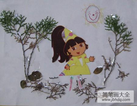 【树叶贴画作品一等奖】树叶贴画作品:可爱的小女孩