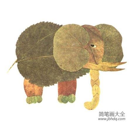 [树叶贴画作品一等奖]树叶贴画作品:大象