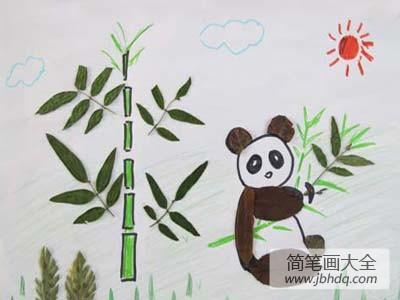 树叶贴画作品一等奖_树叶贴画作品:熊猫