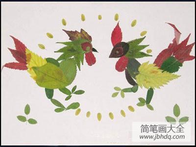 [树叶贴画作品一等奖]树叶贴画作品:我家的大公鸡