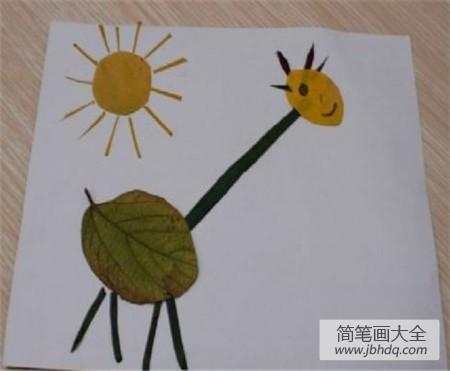 [树叶贴画用啥粘树叶]树叶贴画作品:采树叶制作树叶贴画