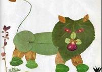 树叶贴画作品:老虎来了