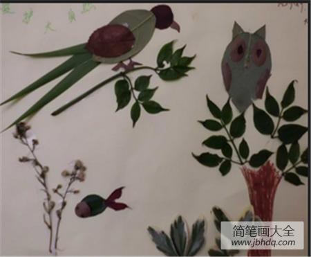 [树叶贴画小鸟图片]树叶贴画作品:树上的小鸟