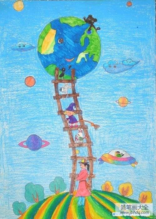 [油棒画风景画]儿童油棒画科幻画:地球天梯