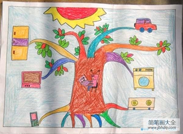 【科技创新成长科幻画】儿童科技创新大赛科幻画作品:大树太阳能充电器