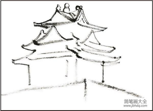 故宫檐角走兽_水墨故宫角楼的绘画教程