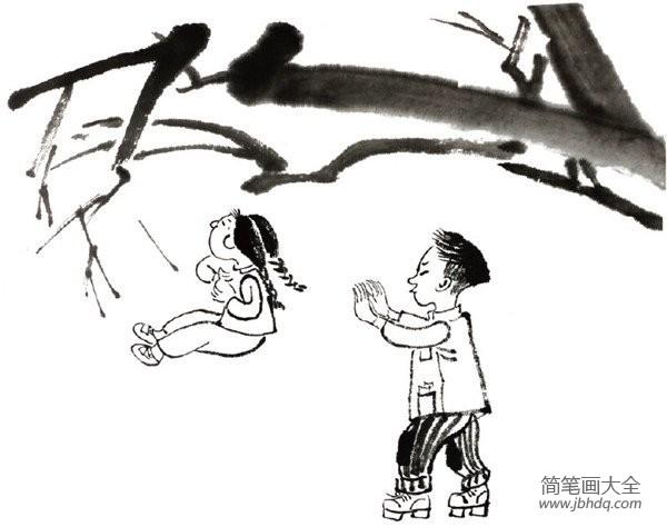 [水墨树的画法]水墨小孩树上荡秋千的绘画教程