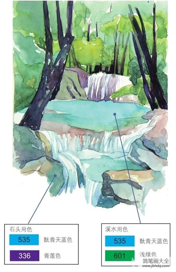 【水彩笔】水彩流动的水示例山溪绘画教程