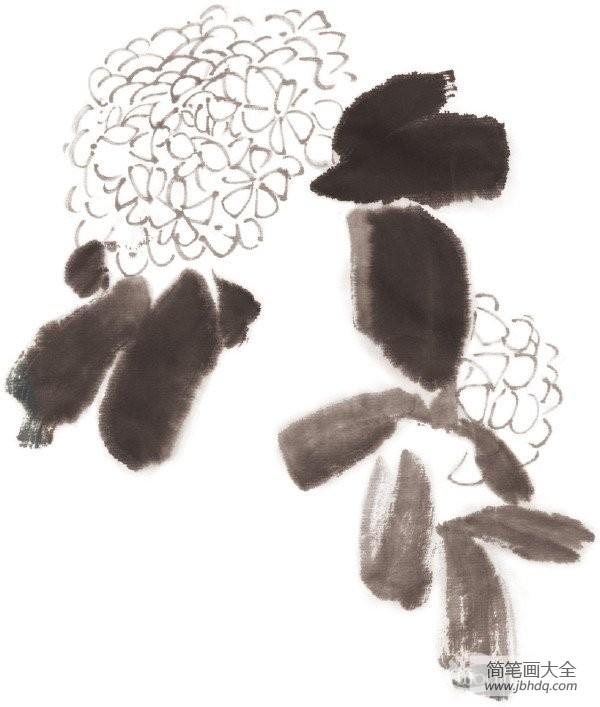 水墨绣球花的绘画技法
