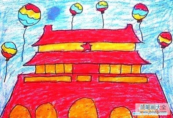 【庆国庆贺中秋画作】庆国庆儿童画作品:天安门