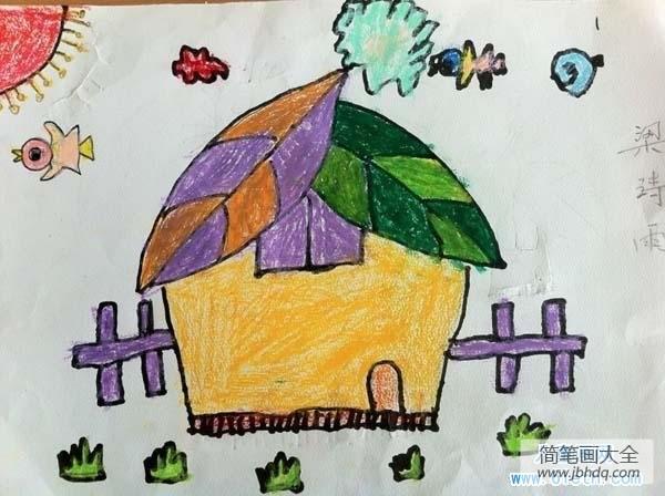 创意房子绘画_幼儿创意房子儿童画图片:树叶房子图片