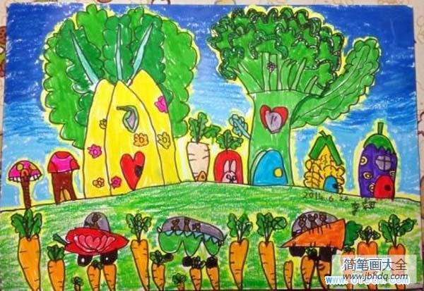 蔬菜房子简笔画_美丽的蔬菜房子儿童画图片