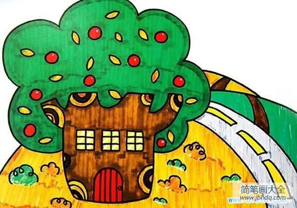 房子后面有大树好不好|大树房子儿童画教师范画