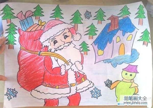 圣诞节是哪个国家的节日|圣诞节节日儿童画图片:和蔼的圣诞老人