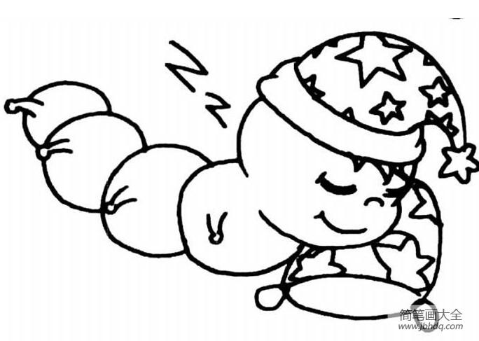 睡懒觉的图片可爱图片_睡懒觉的可爱毛毛虫简笔画