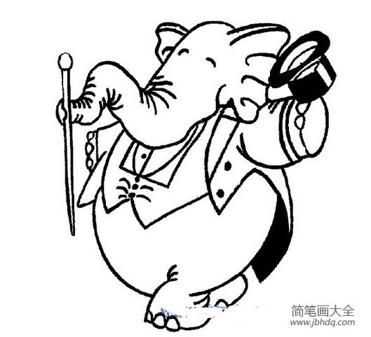 [简笔画大象的画法]大象跳芭蕾简笔画