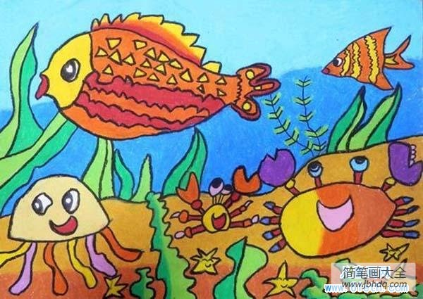 卡通海底世界大全图片_可爱卡通海底世界儿童画画大全