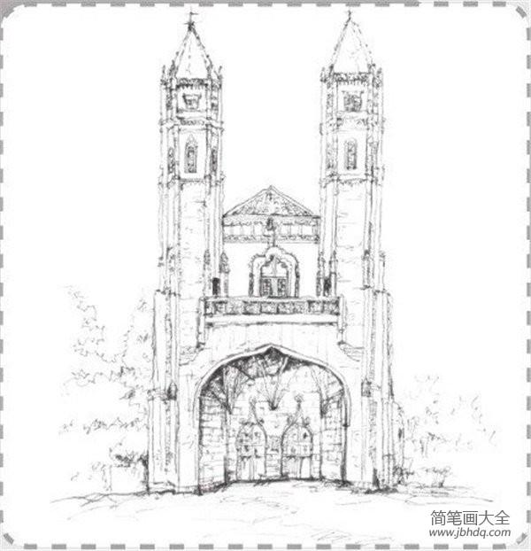 速写图片|速写哥特式古堡的绘画教程