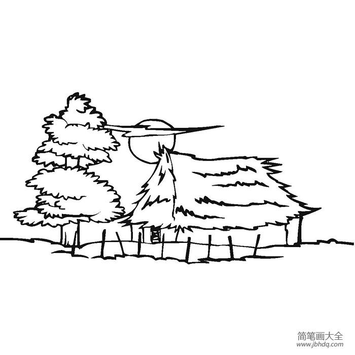 【中秋月夜简笔画】月夜下的茅屋简笔画