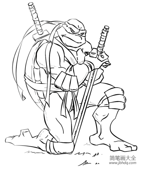 忍者神龟怎么画|如何画忍者神龟莱昂纳多