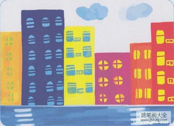 [城市建筑图片]五年级城市建筑儿童画作品大全:高楼大厦