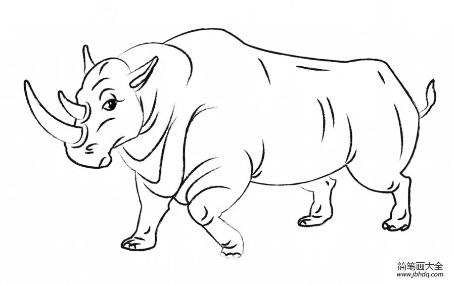 简单的犀牛怎么画|卡通犀牛怎么画