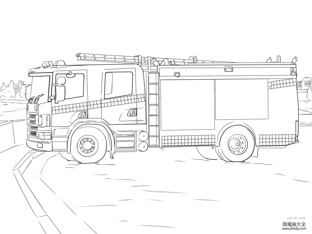 学画小熊|学画消防车