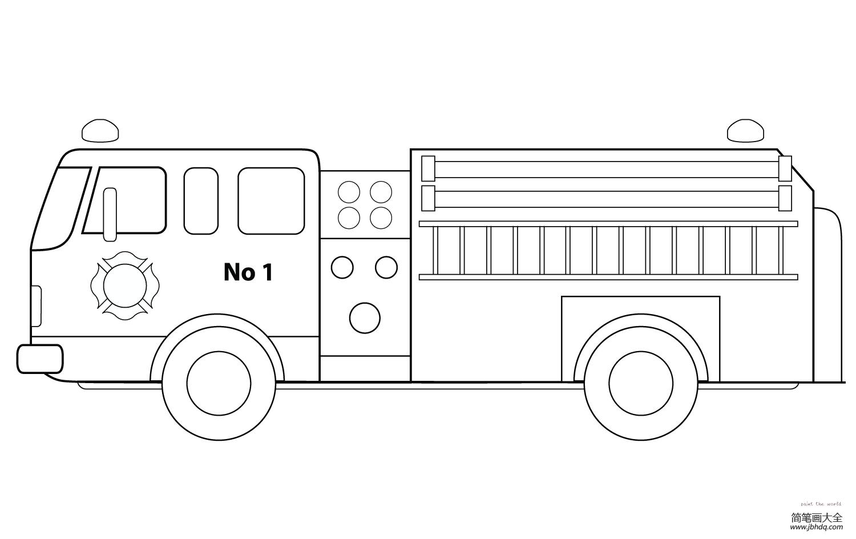 简笔画消防车的画法|消防车的简单画法