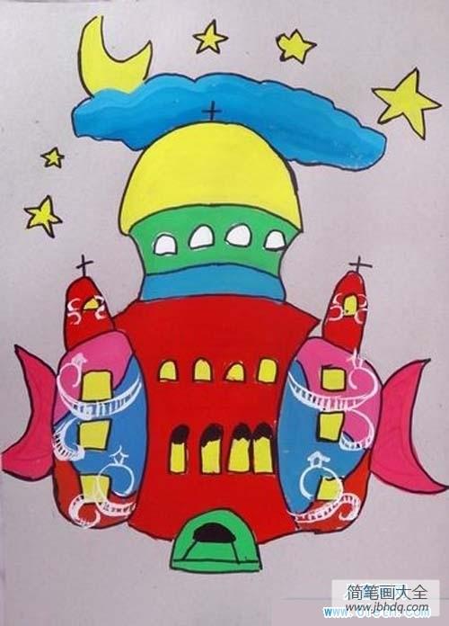 梦幻的城堡教案_梦幻的城堡儿童画图片大全