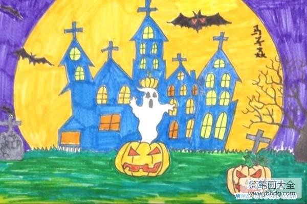 儿童画画学习_儿童画万圣节图片-诡异的万圣节