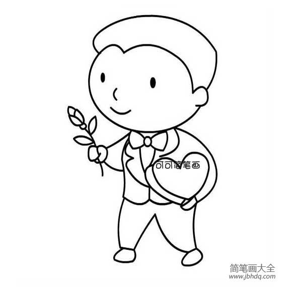 求爱简笔画图片_拿着玫瑰花的男孩简笔画图片