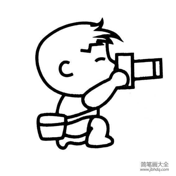拍照简笔画_摄影的男孩简笔画