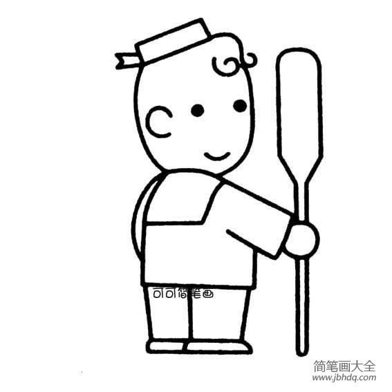 大海水手简笔画图片_水手男孩简笔画
