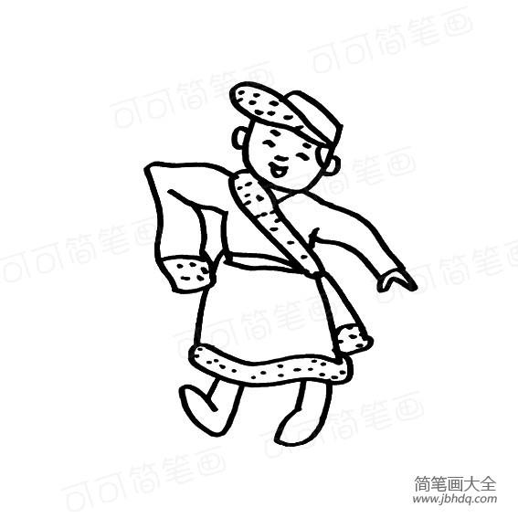 藏族人物简笔画图片_藏族小男孩人物简笔画