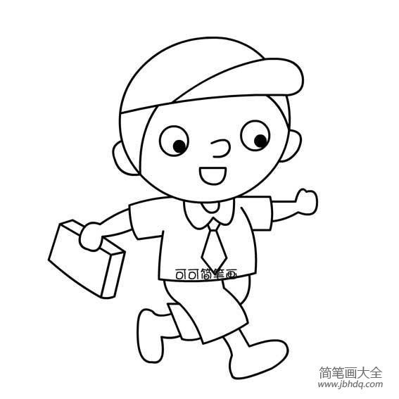 背着书包上学的简笔画|上学的男孩简笔画上学的小男孩简单画法