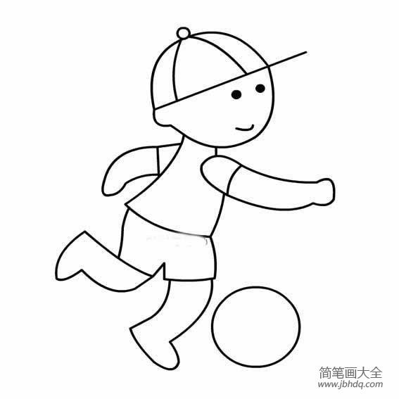 【小朋友踢足球简笔画】踢足球的小男孩简笔画
