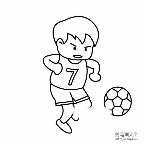 小朋友踢足球简笔画|小男孩踢足球的简笔画范画