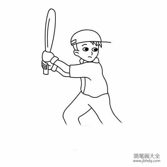 男孩的简笔画图片大全_在打棒球的男孩简笔画图片