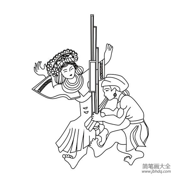 苗族人物简笔画|苗族人物表演歌舞的画法